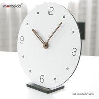 ساعات الحائط مانديلدا diy الإبداعية الصامت قوس الذكية ساعة بيضاء الرقمية دائري ساعة خشبية على المنزل الديكور 1
