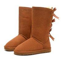 Clássico Neve Homens Mulheres Moda Austrália Botas longo tornozelo curto Bow Fur Botas Designer para a plataforma Casual Inverno Sapatos US5-12