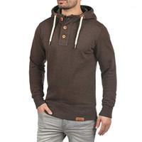 Sweatshirt LNCDIS Homme Voyage Fashion Hommes à capuche à capuche à capuche avec boutons Sweatshirt Manteau A21