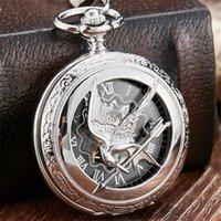 Retro vintage hueco los juegos de hambre Mockingjay Mockingbird Cuarzo Reloj de bolsillo Collar de la cadena de la cadena de plata Relogio de Bolso T200502