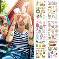부활절 임시 문신 스티커 방수 바디 아트 여성 부활절 달걀 플래그 꽃 조류 문신 스티커 건강 아름다움 제품 BF802