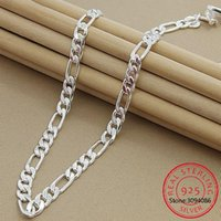 925 Sterling Silver 6mm / 8mm catena collana di dichiarazione Sideways Uomo collana donna anziana monili di lusso