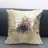 Caja de almohada de lentejuelas de un solo lado Colores de sublimación de sublimación en blanco Impresión de la transferencia de calor Cojines mágicos Cubierta de almohadas de alta calidad 9 9hh L2