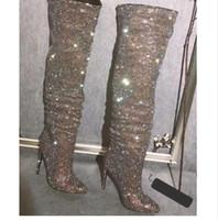 Сексуальный блеск горный хрусталь пробурен над сапогами на коленях Женщины тонкие сапоги на высоком каблуке заостренные носки женские Bling Bling Crystal Brother