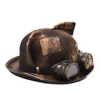 Steampunk قبعة النساء الرجال الرجعية القوطية القط الأذن التصحيح والعتاد نظارات الرامي توبر بيلي الديك العريس أعلى القبعات فيدورا رئيس ارتداء Y200102 S