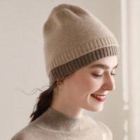 Дамы Головные уборы 100% Pure Козы Кашемир Вязание шапки 2020 Зима Осень Женщина 2Colors Толстые теплые шапки Бесплатная доставка