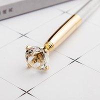 Venta al por mayor Large Diamond Metal Ballpoint Luxury Big Crystal Diamond Ballpoint Metal Pen Crystal Pen Regalo Boda Favor Fast Ship