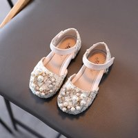 Flat Shoes Spring/Summer Kids Baby Girls Half Sandals Children Pearl Non-slip Princess Dance Fashion Leather Casual