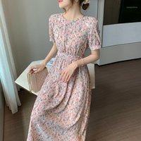 Nijiuding boho floral impressão mulheres vestido 2019 verão sexy o-pescoço à beira invertida uma linha chiffon vestidos longos praia férias1