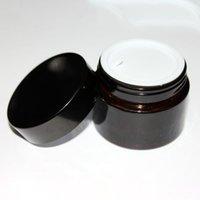 Brown de vidrio ámbar Crema tapa tarro Negro 515 30 50 100 G cosmética Tarro Embalaje Muestra de ojos Crema HHB2239