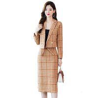 Новые женские зимние клетчатые куртки и костюма юбка 2 шт. Определяет дамы высокого качества Элегантный тонкий тканый набор шерстей R675 R4IL