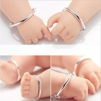 Baby Bangle Bracelets Silver Plated Smooth Surface Round Pip...