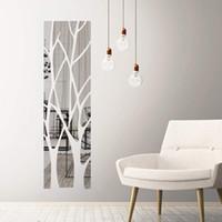 Ağaç Desen Akrilik Ayna Duvar Çıkartmaları Modern Ev Dekorasyonu Duvar 3D Kendinden Yapışkanlı Çıkarılabilir DIY Sanat Çıkartması Dekorasyon Sticker