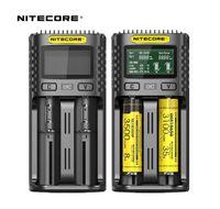 Nitecore UM2 Carregador de Bateria Cirurgia Inteligente Seguro Global Li-ion 18650 18700 20700 21700 LCD Display Carregador de Bateria UM4