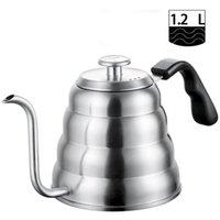 Chá de aço inoxidável chaleira de café com termômetro, gooseneck fina bico para derramar sobre cafeteira, trabalha no fogão, 40oz / 1.2l