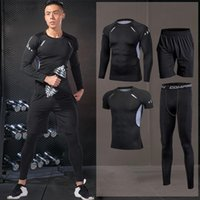 Männer Laufsport Sets Enge Sportbekleidung Anzüge Jogging Compression Sportkleidung Training Pants Fitness Jacke Workout Shorts