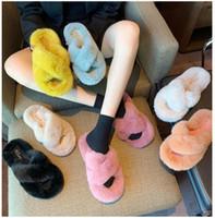 2020 Yeni Varış Kızlar Moda Düz Kürk Terlik Ayakkabı kadın Kapalı Slaytlar Düz Ayakkabı Lady Kış Evi Falt Pembe Terlik Boyutu 40 38 # P61