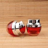 10pcs / Lot de haute qualité en verre rouge crème Jar femmes récipient cosmétique Lotion Vial Sliver Cap 1OZ fard à paupières 30ml Pot Rechargeables