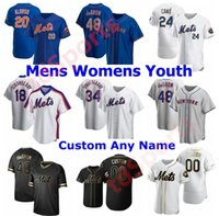 2020 남성 여성 키즈 청소년 Pete Alonso Mets 야구 유니폼 48 Jacob Degom Darryl Strawberry Keith Hernandez Dwight Gooden 31 Piazza Jersey
