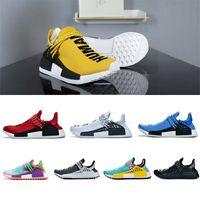 Venda quente raça humana desenhista sapatos pharrell williams raça humana esporte sapatos amarelo preto branco vermelho verde cinza tênis azul [sem caixa]