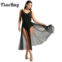 Etapa desgaste tiaobug mujeres adulto competencia de adultos traje de baile lírico Malla Ballet Tutu Vestido de tutu construido en estante Sujetador Leotard Gimnasia