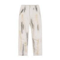 2021 New Graffiti Splash Tinta Retro Jeans para Homens High Street Loose Color Block Casual Denim Calças Lavadas Hipas Hip Hop Jean Calças B105