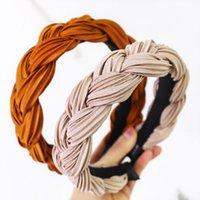 Nova faixa de cetim de seda twist trança mulheres headband coreano moda cor sólida faixa de cabelo faixa de cabelo