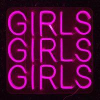 """""""الفتيات"""" كلمة تسجيل ألوان أخرى يمكن تخصيص زينة الزفاف الديكور جدار الصمام ضوء النيون 12V السوبر مشرق"""