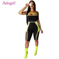 Adogirl Sheer сетка цвет пэчворк без бретелек комбинезон мода сексуальное колено длина ползунки женщин тонкие плейуситы летнее тела костюмы Y200422