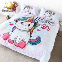 Bressling Lindo Unicornio Conjunto de ropa de cama Rainbow Hair Duvet Cover Love Music Kids Dibujos animados Colchas Coloridas Corazones Estrellas Cama Set de cama 201210