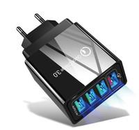 جديد الشحن السريع 3.0 USB شاحن 48W 4 منافذ محول QC 3.0 الهاتف الاتحاد الأوروبي / الولايات المتحدة / المملكة المتحدة سد الجدار موبايل سريع شاحن الرئيسية الحائط محول السفر