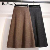 Biiyingni outono de malha alta cintura saia mulheres tamanho grande escritório vintage senhora faldas casual simples saias A-line saia midi quente