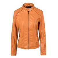 Kadın Ceketler Kadın Faux Deri 2021 Biker Motosiklet Moda Ceket Slim Fit Palto Giyim Streetwear Pembe Kahverengi Siyah