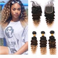 # 1B-27 Ombre глубокой волны человеческих волосы 3Bundles с Closure Черного Коричневого Honey Blonde 3Tone Ombre бразильским ткет волос с Lace Closure