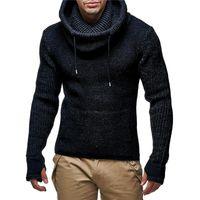 Pulls pour hommes Aksr Automne et hiver Causes Causes Hommes Chauds Pull à capuchon à manches longues Couleur mélangée à manches longues épaissie pour