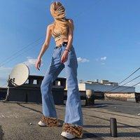 Y2k leopard frauen patchwork vintage frauen jeans cut boot e mädchen 90er streetwear Denim niedrige Taille schlanke Flare Hose