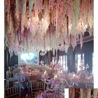 24 Farben Elegante künstliche Blume Glyzinien Blume Rebe 34cm Haus Garten Wand Hanging DIY Rattan für Hotel Jllkyw Sport77777