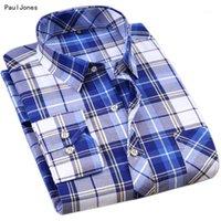 남성 캐주얼 셔츠 Pauljones 브랜드 여름 긴 소매 남자 격자 무늬 슬림 맞는 남자 고품질 수입 - 중국 남성 의류 1