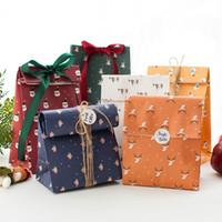 Мешок Рождество бумаги Подарочный пакет мешок DIY подарков Cookie пакет Санта Sonowman Deer печати Candy Present Чехол GGE2152