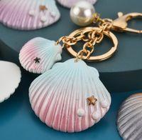 2020 New Bohemian key chain ocean shell key chain alloy handicraft pendant pearl key ring for girl