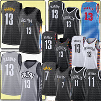 New 13 Harden Jersey Kevin 7 Durant Jersey City 11 Kyrie Men 's Basketball Irving Jerseys 저렴한 판매 고품질 검은 흰색 회색