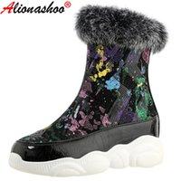 부츠 aliona shoo 패션 스팽글 천으로 진짜 모피 여성 눈 섹시한 평면 플랫폼 발목 지퍼 겨울 신발