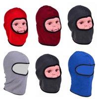 1-8Y Çocuklar Kış Polar Balaclava Şapka Polar Polar Beanie Eşarp Hood Boyun Yüz Maskesi Açık Bisiklet Kar Kayak Tuque Kafatası Kap Headweare122808