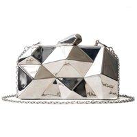 Mode Geometrische dreidimensionale Metallkette Damen Handtasche Abendtasche Tag Kupplungen Mini Geldbörse Hochzeitsfeiertasche1