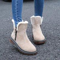 Okkdey Kar Botları Temel 2020 Kare Topuklu Kış Ayakkabı Kadın Çizmeler Moda Sıcak Peluş Katı Ayak Bileği Kadın Ayakkabı Botas Mujer1