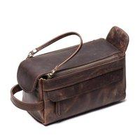 Nesitu vintage marrón negro grueso genuino cuero loco cuero hombres hombres cosmético bolso de viaje baño lavar bolsa maquillaje bolsas M90491