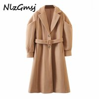 Nlzgmsj 2020 winter women khaki woolen coat warm thick with slash elegant puff long sleeve coat female overcoat