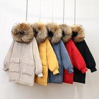 Kadın Parkas Kürk Yaka Ceket Aşağı Pamuk Kadınlar Uzun Gevşek Pamuk Ceket 2019 Kış Ceket Lady Coats Kalın Kar Giyim1