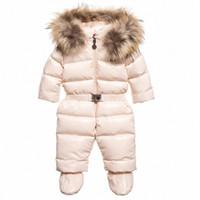 Inverno ragazza del neonato del cappotto vestiti tuta spessore caldo incappucciato tuta da neve di usura del bambino del bambino Snowsuit pagliaccetti 1Y6B #
