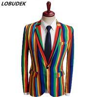 Англия стиль мужская формальный костюм пальто красочные полоса мода тонкие пиджаки мужской певец хост звезд вечерняя вечеринка шоу стадии костюм 201106